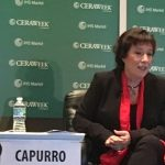 Doris Capurro speaking on an energy panel in CERAweek.